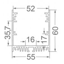 Линейный светодиодный светильник в алюминиевом профиле Prima Tech PLAIN Line Premium 1000мм 42W