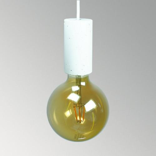 Подвесной бетонный светильник Цилиндр Белый