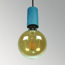 Подвесной бетонный светильник Цилиндр Синий