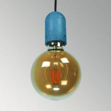 Подвесной бетонный светильник Бочонок Синий