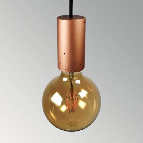 Подвесной бетонный светильник Цилиндр Медь