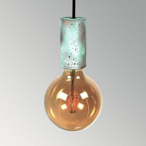 Подвесной бетонный светильник Цилиндр Оксид Меди