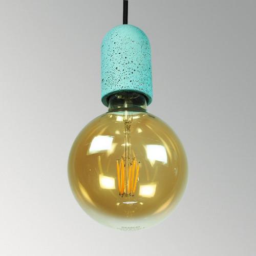 Подвесной бетонный светильник Бочонок Оксид Меди