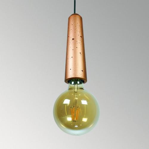 Подвесной бетонный светильник Патрон Медь