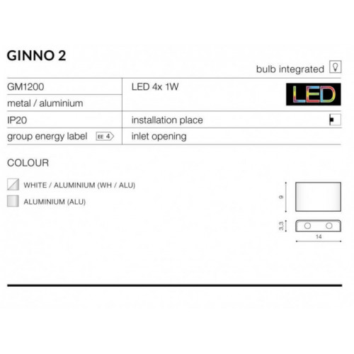 Бра AZzardo GINNO 2 AZ0765 (GM1200ALU)