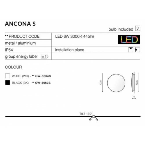 Бра AZzardo ANCONA S AZ2192 (GW8664SWH)