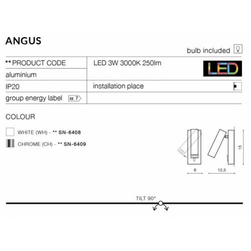 Бра AZzardo ANGUS AZ2446 (SN6408WH)