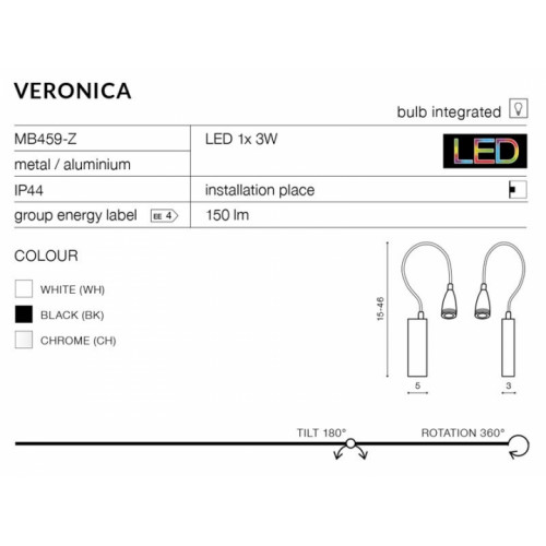 Бра AZzardo VERONICA AZ1548 (MB459ZBK)