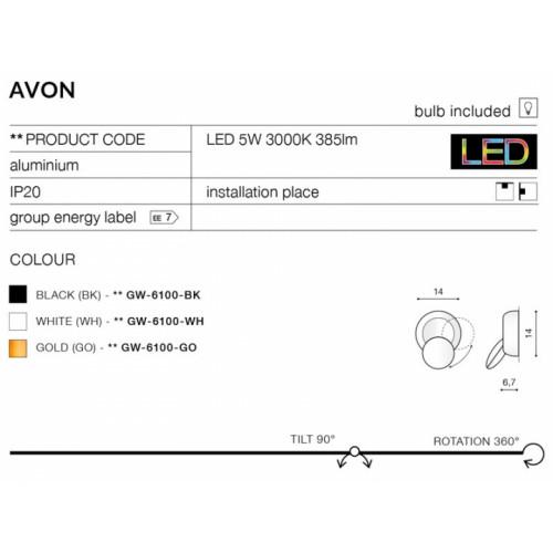 Бра AZzardo AVON AZ2196 (GW6100BK)
