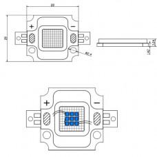 Светодиодная матрица LED 50Вт 6500К 4600Лм 620-630nm(красный)