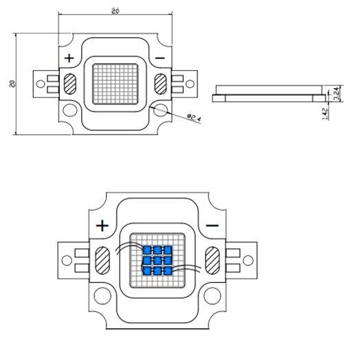 Светодиодная матрица LED 10Вт 6200К 1100Лм 620-630nm(красный)