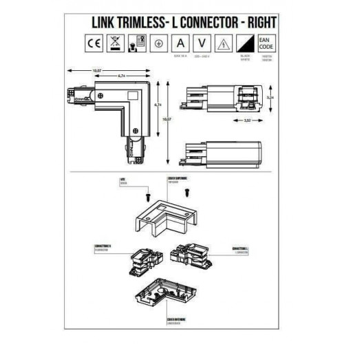 L-Конектор правий Ideal Lux LINK TRIMLESS ON/OFF L CONNECTOR 169729