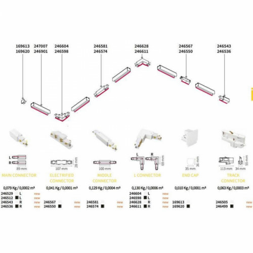 L-Конектор правий Ideal Lux LINK TRIM DALI L CONNECTOR 256061