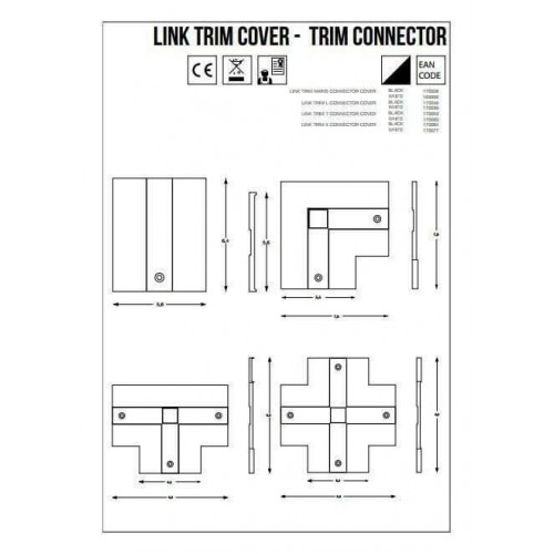 L-Конектор правий Ideal Lux LINK TRIM ON/OFF L-CONNECTOR 188096