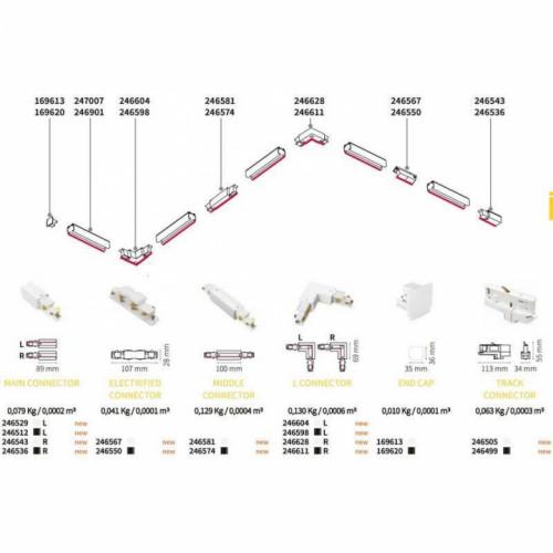 L-Конектор лівий Ideal Lux LINK TRIM DALI L CONNECTOR 256030